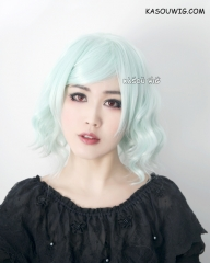 S-4  mint green loose beach waves lolita . harajuku wig with bangs .35cm
