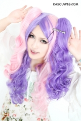 67cm long pink purple split  long curly wave  two tone Lolita  Punk cosplay wig with 2 clips Harajuku wig for women