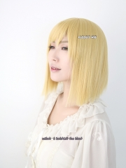 "40cm / 15.7"" long one-lenght straight light yellow blonde wig with short bangs"