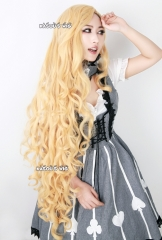 Ever After High pastel blonde Apple White 110cm long side parted wave cosplay wig . lolita hair
