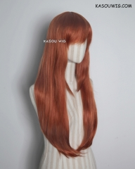 L-2 / SP06 Auburn brown 75cm long straight wig . Hiperlon fiber