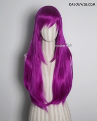 L-2 / KA053 Red Violet Purple 75cm long straight wig . Hiperlon fiber