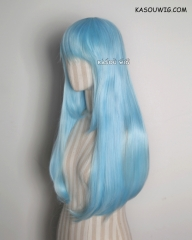 L-2 / KA046 light blue 75cm long straight wig . Hiperlon fiber