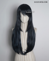 L-2 / KA052 black blue 75cm long straight wig . Hiperlon fiber