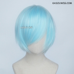 S-2 / KA045 Light Cyan short bob smooth cosplay wig with long bangs . Hiperlon fiber