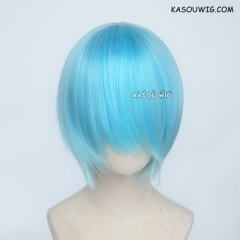 S-2 / KA046 light blue short bob smooth cosplay wig with long bangs . Hiperlon fiber