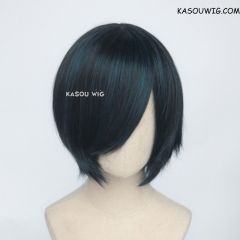 S-2 / KA052 black blue short bob smooth cosplay wig with long bangs . Hiperlon fiber