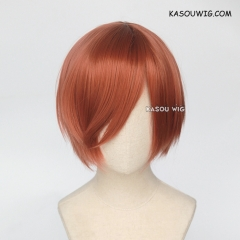 S-2 / KA022 Copper Penny short bob smooth cosplay wig with long bangs . Hiperlon fiber