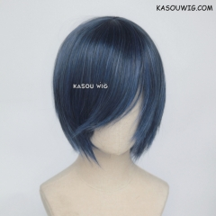S-2 / KA051 navy blue short bob smooth cosplay wig with long bangs . Hiperlon fiber