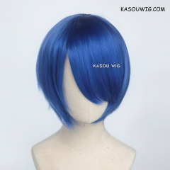 S-2 / KA050 royal blue short bob smooth cosplay wig with long bangs . Hiperlon fiber