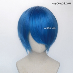 S-2 /  KA048 Dodger Blue short bob smooth cosplay wig with long bangs . Hiperlon fiber