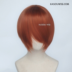 S-2 / SP06 Auburn brown short bob smooth cosplay wig with long bangs . Hiperlon fiber