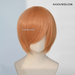 S-2 / SP19 pastel orange short bob smooth cosplay wig with long bangs . Hiperlon fiber