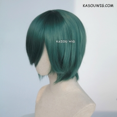 S-2 / KA065 dark olive green short bob smooth cosplay wig with long bangs . Hiperlon fiber