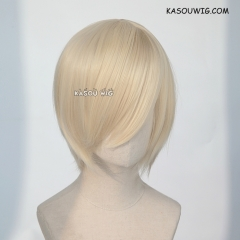 S-2 / SP17 light cream blonde short bob smooth cosplay wig with long bangs . Hiperlon fiber