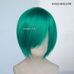 S-2 / KA062 emerald green smooth cosplay wig with long bangs . Hiperlon fiber