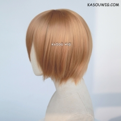 S-2 / KA018 ginger orange short bob smooth cosplay wig with long bangs . Hiperlon fiber