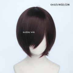 S-2 / KA058 dark reddish brown short bob smooth cosplay wig with long bangs . Hiperlon fiber