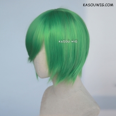S-2 / KA060 light green short bob smooth cosplay wig with long bangs . Hiperlon fiber