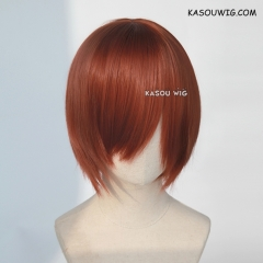 S-2 / KA044 Burnt umber red short bob smooth cosplay wig with long bangs . Hiperlon fiber