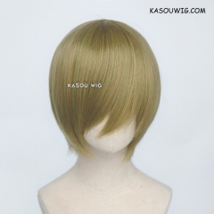 S-2 / SP21 green yellow mixed short bob smooth cosplay wig with long bangs . Hiperlon fiber