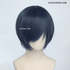 Danganronpa V3 Saihara shuichi  S-2 / SP03 deep blue short bob smooth cosplay wig with long bangs . Hiperlon fiber