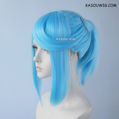 S-3 / KA046 light blue ponytail base wig with long bangs.