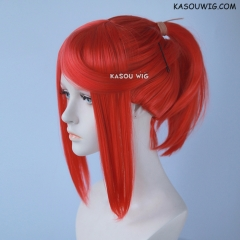 S-3 /  KA040 vermillion red ponytail base wig with long bangs.