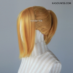 S-3 / KA013 light golden ponytail base wig with long bangs.