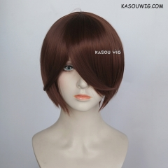 S-2 / KA026 Walnut Brown  smooth cosplay wig with long bangs . Hiperlon fiber