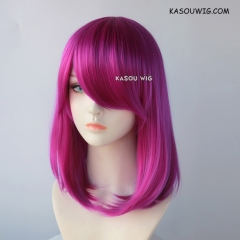 M-1/  KA053 Red Violet Purple long bob cosplay wig. shouder length lolita wig suitable for daily use