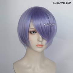 S-2 / KA056 pastel Lavender short bob smooth cosplay wig with long bangs . Hiperlon fiber