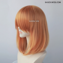 M-1/ KA019 carrot orange long bob cosplay wig. shouder length lolita wig suitable for daily use