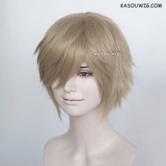 "S-1 / SP11>31cm / 12.2"" short beige blonde layered wig, easy to style,Hiperlon fiber"