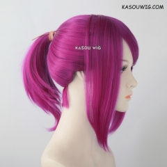 S-3 / KA053 Red Violet Purple ponytail base wig with long bangs.