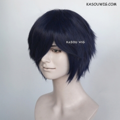 "S-1 / SP14>31cm / 12.2""  short  midnight blue  layered wig, easy to style,Hiperlon fiber"