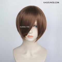 S-2 /  KA024 light brown smooth cosplay wig with long bangs . Hiperlon fiber