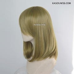 M-1/ SP21 green yellow mixed long bob cosplay wig. shouder length lolita wig suitable for daily use