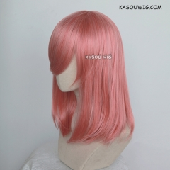 M-1/ KA036 rose pink long bob cosplay wig. shouder length lolita wig suitable for daily use