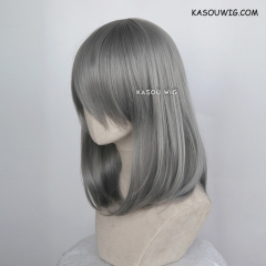 M-1/ KA004 gray long bob cosplay wig. shouder length lolita wig suitable for daily use