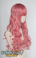 L-1 / KA036 rose pink 75cm long curly wig . Hiperlon fiber
