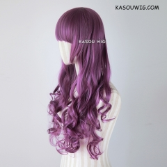 L-1 / SP40 grape purple 75cm long curly wig . Hiperlon fiber