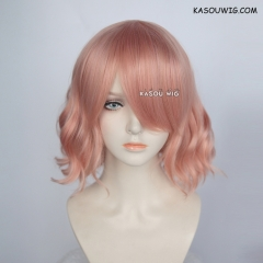 S-4 / SP22 coral pink loose beach waves lolita . harajuku wig with bangs .35cm .