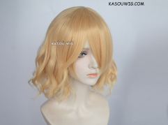 S-4 / SP01 pastel yellow blonde loose beach waves lolita . harajuku wig with bangs .35cm .