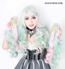 Rainbowl pastel mint green .yellow. baby blue . pink multicolor Cute lolita wave  wig with clips Harajuku wig