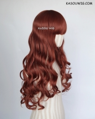 L-1 / KA044 Burnt umber red  75cm long curly wig . Hiperlon fiber