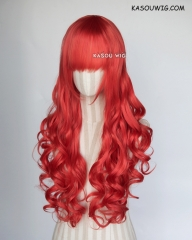 L-1 / KA040 vermillion red 75cm long curly wig . Hiperlon fiber