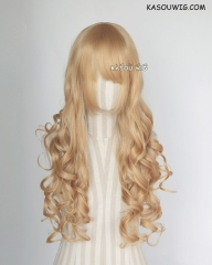 L-1 / KA012 golden blonde 75cm long curly wig . Hiperlon fiber