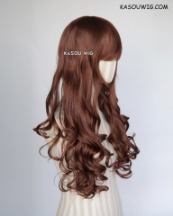 L-1 / KA026 Walnut Brown 75cm long curly wig . Hiperlon fiber