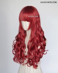 L-1 / KA042 apple red 75cm long curly wig . Hiperlon fiber